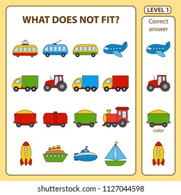 Set of tasks for the development of logical thinking of children. What does not fit is education children game. Difficulty level 1. Set composed of objects on the transport theme. Vector illustration