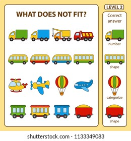 Set of tasks for the development of logical thinking of children. What does not fit is education children game. Difficulty level 2. Set composed of objects on the transport theme. Vector illustration