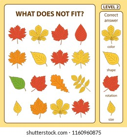 Set of tasks for the development of logical thinking of children. What does not fit is education children game. Difficulty level 2. Set composed of autumn leaves. Vector illustration