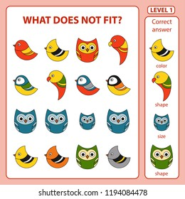 Set of tasks for the development of logical thinking of children. What does not fit is education children game. Difficulty level 1. Set composed of abstract birds. Vector illustration