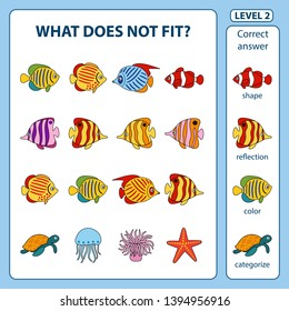 Set of tasks for development of logical thinking of children. What does not fit is education children game. Difficulty level 2. Set composed of sea animals and fish. Vector illustration in flat style.
