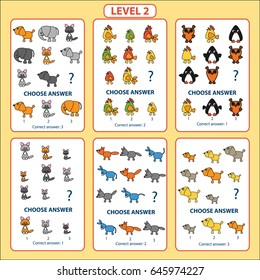 Set of tasks for the development of logical thinking of children. Level 2. Set of logical tasks composed of animals and birds. Vector illustration