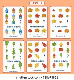 Set of tasks for the development of logical thinking of children. Level 2. Set of logical tasks composed of autumn leaves, trees and houses. Vector illustration