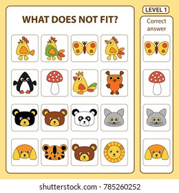 Set of tasks for the development of logical thinking of children. What does not fit is education children game. Difficulty level 1. Set is composed of birds and animals. Vector illustration