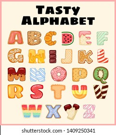 Set of tasty alphabet. Delicious, sweet, like donuts, glazed, chocolate, yummy, tasty, shaped alphabet font letters. Colorful vector typography collection everyone would like to eat.