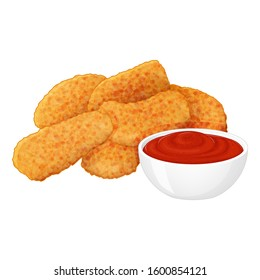 set of tasty chicken nuggets with ketchup on white background. Cartoon style. Vector illustration. Isolated on white. Object for packaging, advertisements, menu.