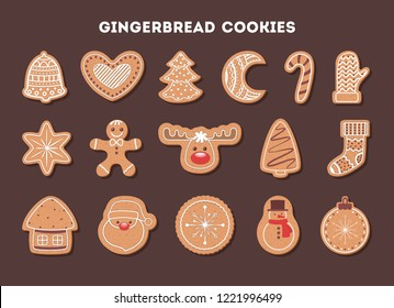 Set of tasty delicious gingerbread cookie for christmas dinner. Collection of homemade dessert in shape of tree and snowflake. Vector flat illustration
