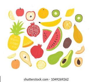 Set of tasty ripe juicy exotic tropical fruits, whole and cut into slices - pineapple, pomegranate, watermelon, banana, apricot, orange, coconut, pear, peach. Vector illustration in doodle style.