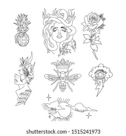 Set of tattoo art. Black and white tattoo design elements, isolated on white background.
