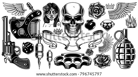 Set Tattoo Art Black White Tattoo Stockvector Rechtenvrij