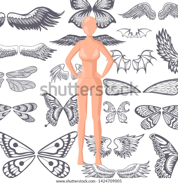 Set Tattoo Art Black White Tattoo Stock Vector Royalty Free 1424709005