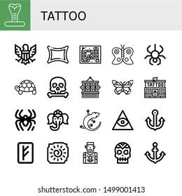 Set of tattoo icons such as Cobra, Eagle, Rune, Snake, Butterfly, Spider, Turtle, Skull, Macrame, Tattoo studio, Ganesha, Lizard, Freemasonry, Anchor, Cave painting, Tattoo artist ,