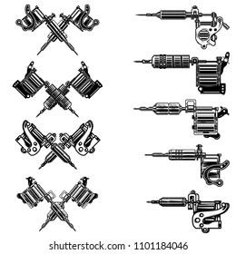 Set of tattoo machine illustrations. Design element for logo, label, emblem, sign, badge. Vector image