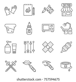 Set of tattoo Related Vector Line Icons. Includes such Icons as sketch, tattoo artist, tattoo contour and etc.