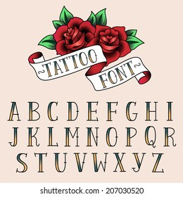 Set of tattoo style letters, alfabeth for your design.