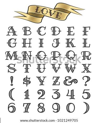 Set Tattoo Style Letters Numbers Alphabethのベクター画像素材