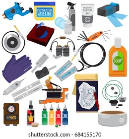 A set of tattoo tools. A set of icons for the design of goods and promotional products.