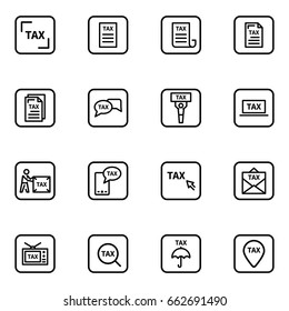 Set of taxes vector thin line icons.