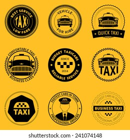 set of  taxi badges, logos and labels on yellow background. vector illustration