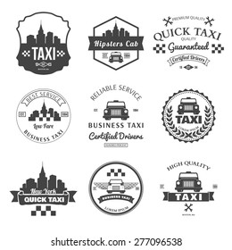 Set of taxi badges, logos and labels vector illustration