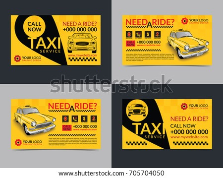 set of taxi service business cards layout templates create your own business cards mockup - Taxi Business Cards