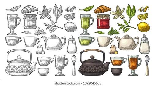 Set tea. Cup, branch, leaf, kettle, flower, lemon, croissant, bag, sugar shaker. Vector color vintage engraving illustration for label. Isolated on white background