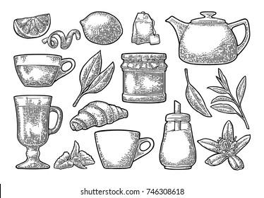 Set tea. Cup, branch, leaf, kettle, flower, lemon, croissant, bag, sugar shaker . Vector vintage engraving illustration for label, poster, web. Isolated on white background.