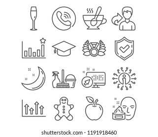 Set of Tea cup, Upper arrows and Face cream icons. Efficacy, Gingerbread man and Graduation cap signs. Champagne glass, Household service and Laureate medal symbols. Vector