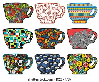 Set of tea cups with cool patterns. Vector illustration.