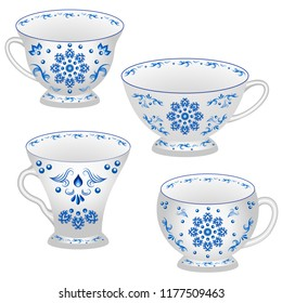 Set of tea cups ornate in traditional Russian style Gzhel. White cups with blue floral ornament pattern, various shapes. Isolated objects, vector illustration