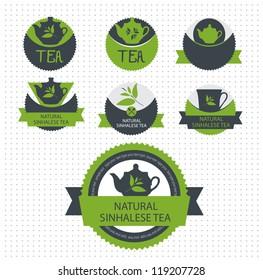 Set of tea label. Vector