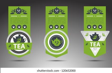 Set of tea labels. Vector
