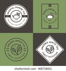 Set of tea logo, badges, banners, emblem for tea shop in linear style with  leaf seamless pattern background. Organic tea package design. Vector illustration.