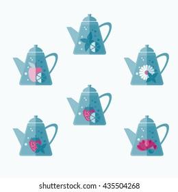 Set of tea pots. Mint, lemon strawberry, apple, chinese flower,  chamomile. Tea time vector symbols.