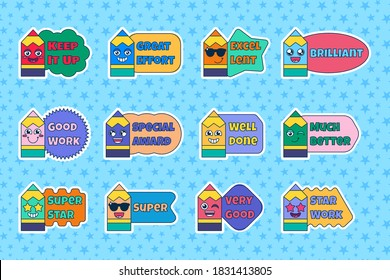 Set of teacher reward stickers, cute cartoon school award signs with smiling pencil. Encouragement sign for elementary or primary school pupils. Vector illustration