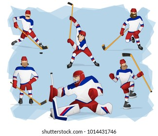 A set of team Russia ice hockey players in white uniform standing in different poses. Isolated from background. Drawn in cartoon style