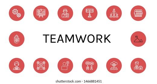 Set of teamwork icons such as Gear, Diagram, Coach, Home team, Connection, Users, Coordinator, User, Teamwork, Management, Businessman, Hand, Mission , teamwork