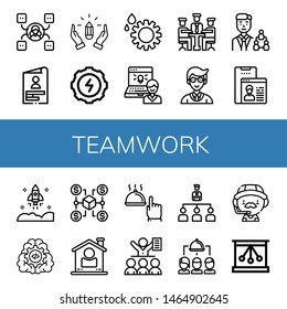 Set of teamwork icons such as Skill, Skills, Hands, Gear, Administrator, Meeting, Manager, User, Startup, Connection, Hand, Organization, Group, Coach, Newtons cradle , teamwork