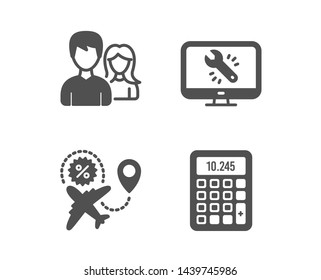 Set of Teamwork, Monitor repair and Flight sale icons. Calculator sign. Man with woman, Computer service, Travel discount. Accounting device.  Classic design teamwork icon. Flat design. Vector