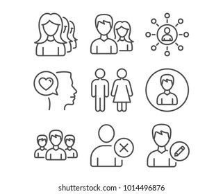 Set of Teamwork, Restroom and Group icons. Women headhunting, Delete user and Person signs. Networking, Romantic talk and Edit person symbols. Man with woman, Wc toilet, Group of people. Vector