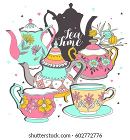 Set with teapot and cup. Vector illustration.Tea time.