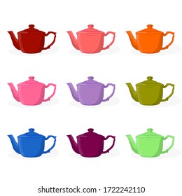 A set of teapots for brewing tea. Different colors. eps10 vector stock illustration.