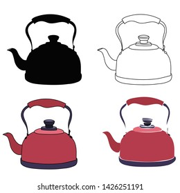 set of teapots with sketch and silhouette