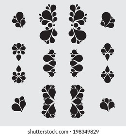 Set of tear drop elements, swirl and floral design, silhouette, vector illustration