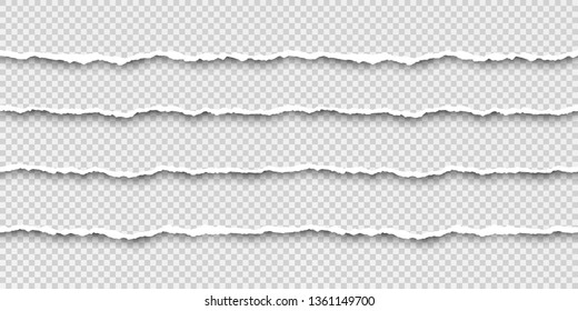 Set of tear seamless paper stripes. Paper texture with damaged edge. Vector illustration isolated on transparent background