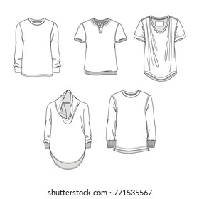Set of technical drawings of men's shirts.