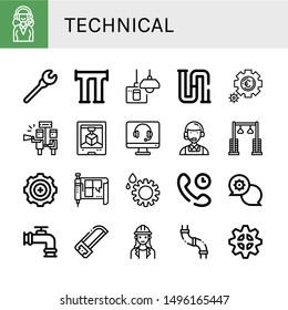 Set of technical icons such as Support services, Wrench, Pipe, Turn off, Piping, Setting, Support, d printing, Customer service, Pulley, Gear, Blueprint, Technical Support , technical