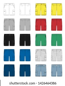 Set of technical sketch cargo shorts pants design template. Cargo Pants. White, gray, black, blue, yellow, red, green colors. Melange and stripes fabric. Fashion vector illustration on grey background