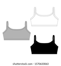 Set of technical sketch girl sport bra. Women's underwear top design template. Children's underclothing. Front and back views. Vector illustration