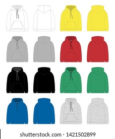 Set of technical sketch for men hoodie. Template hoody. Front and back view. Technical drawing kids clothes. White, gray, black, blue, yellow, red, green colors. Melange and stripes fabric.